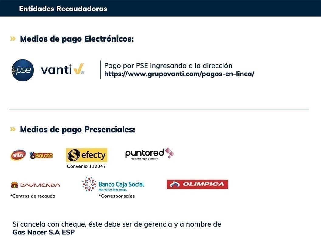 Grupo Vanti Entidades de recaudo Gas Nacer S.A., ESP