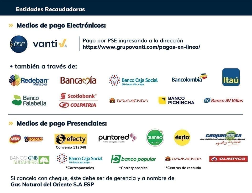 Grupo Vanti Entidades de recaudo Gas Oriente S.A., ESP