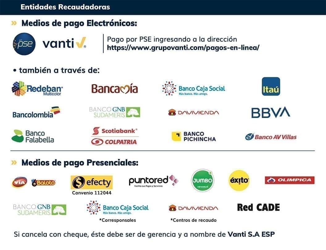 Grupo Vanti Entidades de recaudo Vanti S.A. ESP